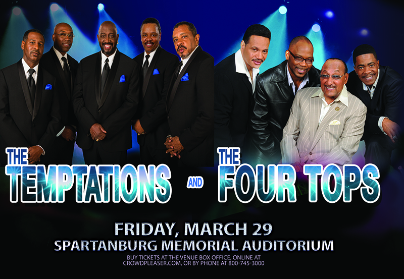 group shot of the temptations and the four tops
