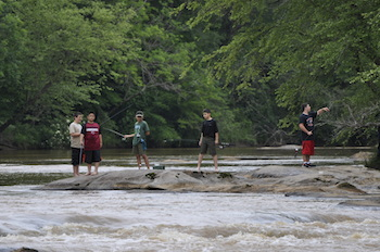 group of people fishing at the Tyger River Foundation's first annual Fish the Tyger event