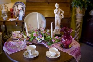Antique tea set and place settings