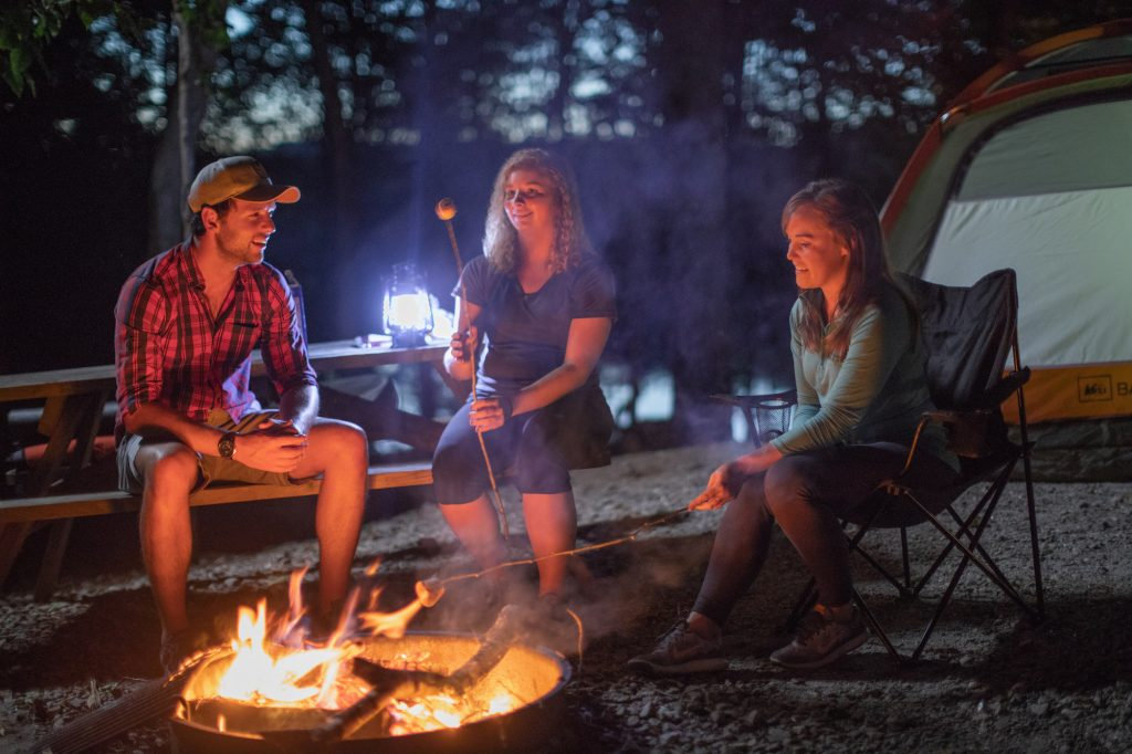 friends gathered around a campfire roasting marshmallows